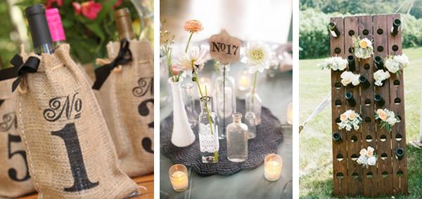 Consigue crear un mesero original con botellas de vino para bodas. Meseros con tela de saco, flores, corcho o madera que quedaran muy bonitos en tu boda.