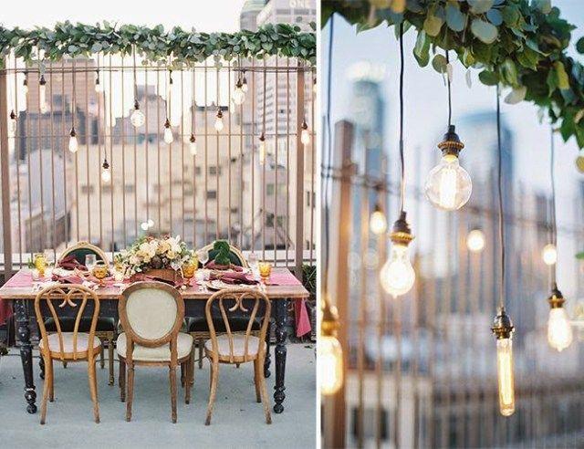 Tipo de decoracion para celebrar una boda al aire libre en lo más alto de un edificio