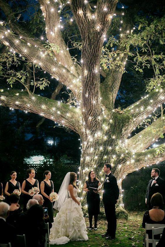 Iluminacion de un arbol en exteriores para celebrar una boda en jardin