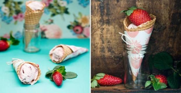 Presentación de helados caseros para servir en una boda